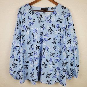 Lane Bryant Blue Floral Balloon Sleeves Blouse